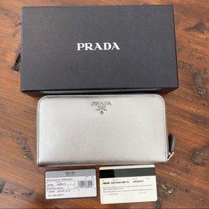 Prada Silver Saffiano Leather Zip Around Wallet